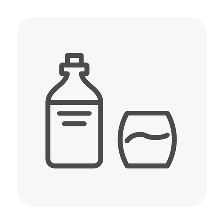 Water drink and health icon, black color. Illustration
