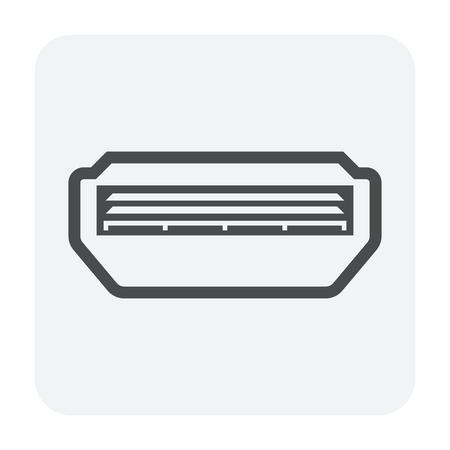 Ceiling air conditioner icon, black color.