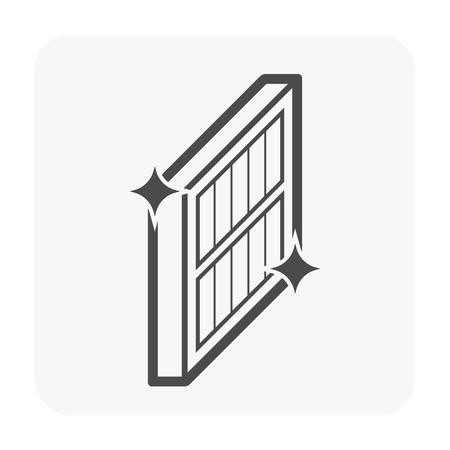 Air conditioner filter clean condition icon, black color. Vektoros illusztráció