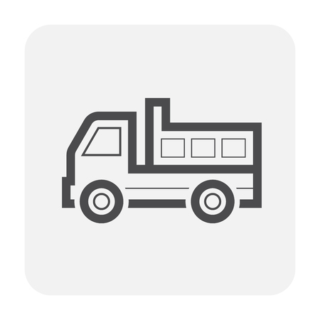 Tipper truck icon design, black and outline.