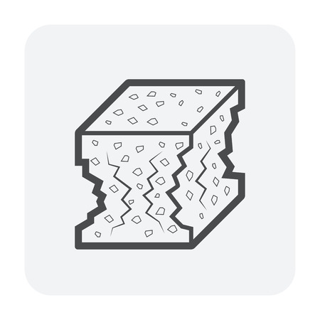 Concrete strength testing icon, outline and black color. Illustration