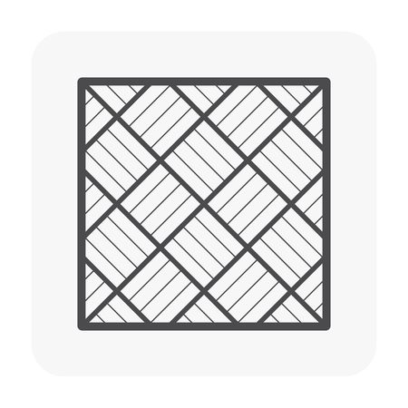 Paver block floor or paver brick pattern icon, top view.