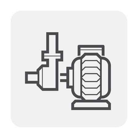 Water pump and water pipe icon for distribution water. Vektorové ilustrace
