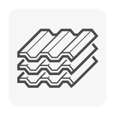 Roofing material icon design, black and outline.
