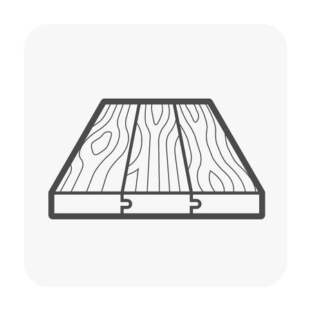 Icône de modèle de plancher en bois sur blanc.