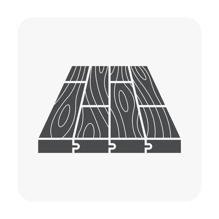 Houten vloer patroon pictogram op wit. Vector Illustratie