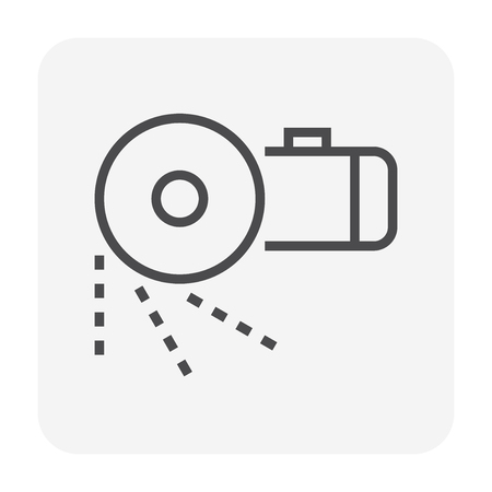 Steel cutting tool icon, 64x64 perfect pixel and editable stroke. Stock Illustratie