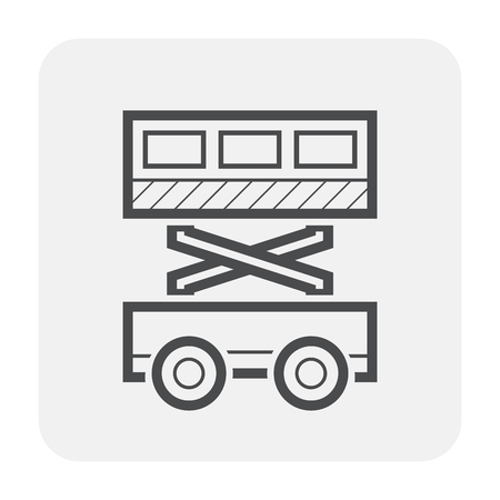 Scissor lift icon design, black and outline.