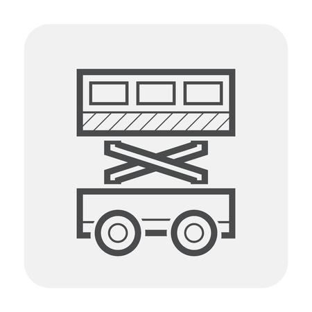 Scissor lift icon design, black and outline.