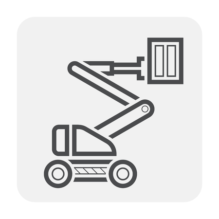 Boom lift icon design, black and outline.