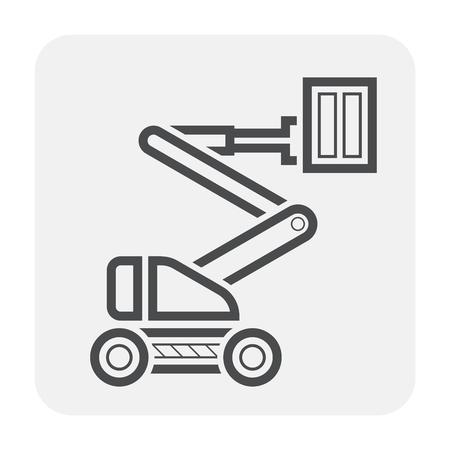 Boom lift icon design, nero e contorno. Vettoriali