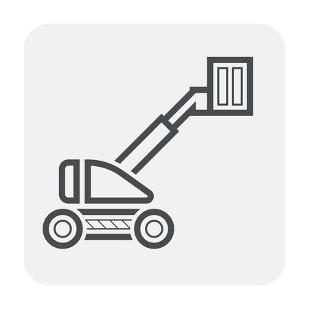 Boom lift icon design, black and outline.