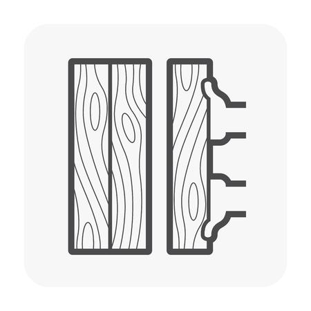 Construction de plancher en bois et icône de l'outil sur blanc. Vecteurs