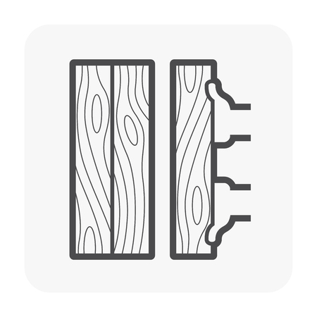 Wood floor construction and tool icon on white.