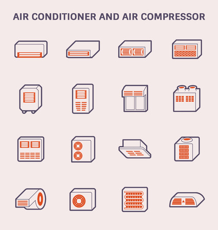 Air conditioner and air compressor icon design, color and outline.