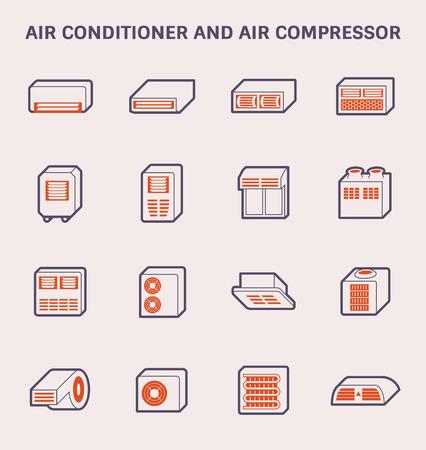 Conception, couleur et contour de l'icône du climatiseur et du compresseur d'air.