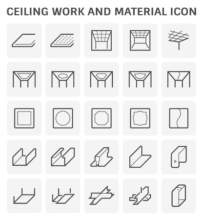 Lavoro a soffitto e set di icone materiali.