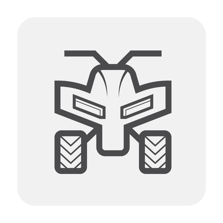 ATV offroad vehicle icon design, black and outline.
