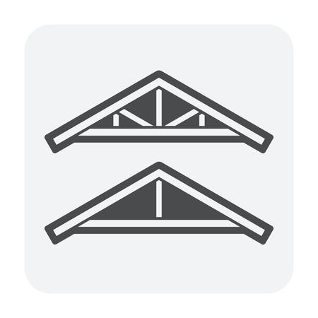 Roof truss icon design, black color.