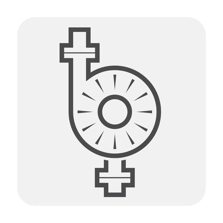 Waterpomp en waterpijp pictogram voor distributiewater.