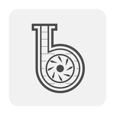 Water pump and blade icon. Illustration
