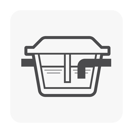 Grease trap icon for water treatment work. Illustration