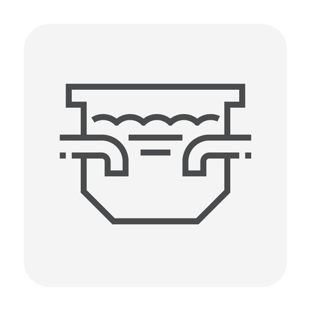 Septic tank icon design for water treatment work, 64x64 perfect pixel and editable stroke.