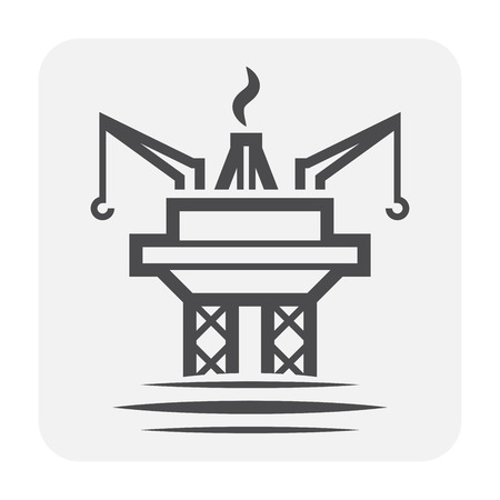 Oil rig icon on white.