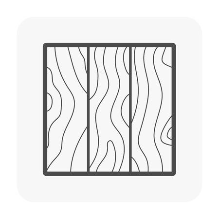 Holzfußbodenikone auf Weiß. Vektorgrafik
