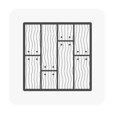 Icona di pavimento in legno su bianco.