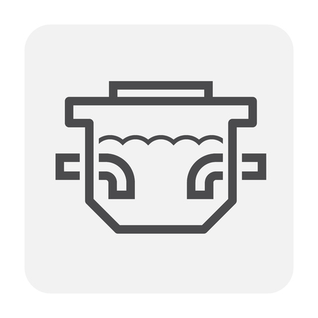 Septic tank icon design, black and outline. Vettoriali