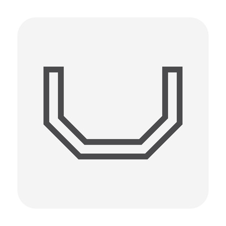 Gutter shape icon  profile view, 48x48 perfect pixel and editable stroke.