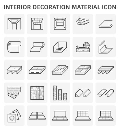 Icono de material de decoración de interiores para trabajos de arquitectura.