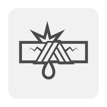 Burst pipe and water leak icon, black and outline. Imagens