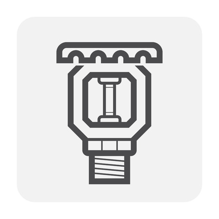 Fire sprinkler icon design, black and outline.