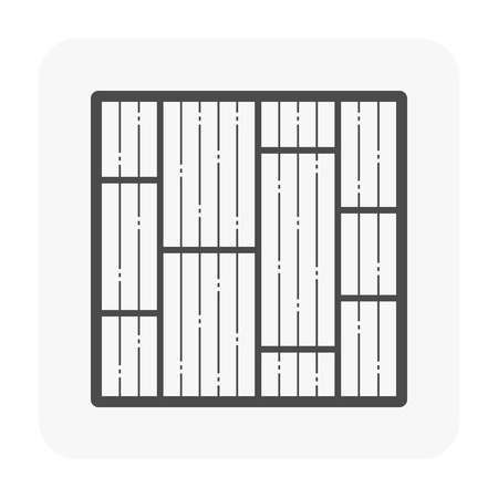 Wood floor pattern and material icon, black color. Иллюстрация
