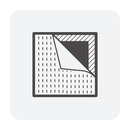 Vinyl floor construction icon on white.