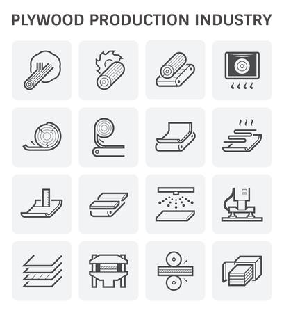 Plywood production industry icon set design. 일러스트