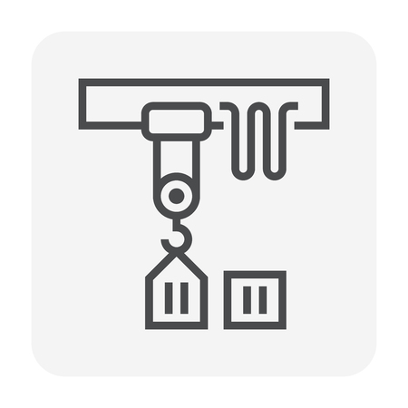 Overhead crane icon, 64x64 perfect pixel and editable stroke. 向量圖像