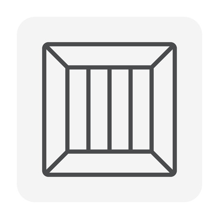 Forklift and box icon, 64x64 perfect pixel and editable stroke.