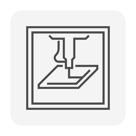 Cnc Fräsmaschine Icon Design, 80x80 perfekte Pixel und bearbeitbarer Hub. Vektorgrafik