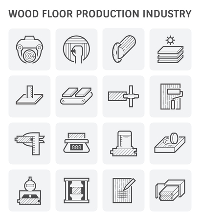 Wood floor production industry and wood testing icon set design.