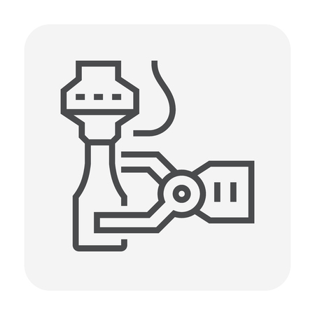 Robot working with bottle package,64x64 perfect pixel and editable stroke.