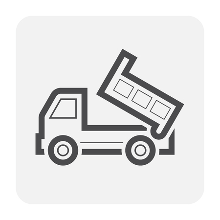 Tipper truck icon, black and outline.