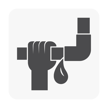 Burst pipe and water leak icon. Illustration