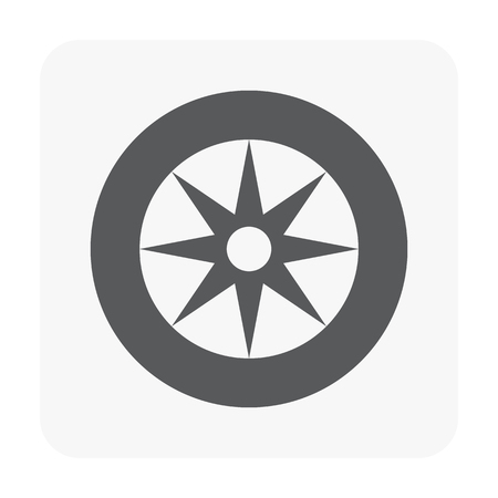 Car part and tool icon on white.