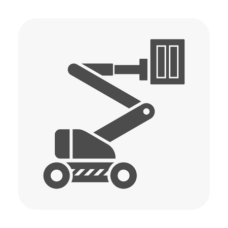 Boom lift icon on white.