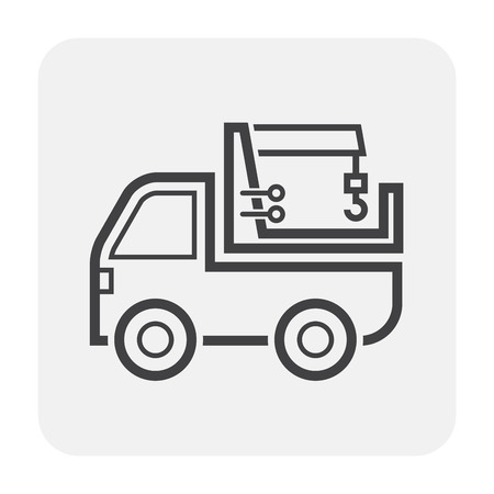 Crane and truck icon on white.