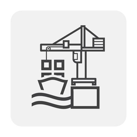 Crane and cargo ship icon on white.