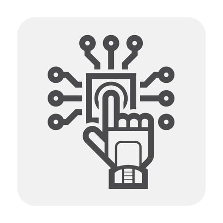 Electronics and tool icon design, black and outline.